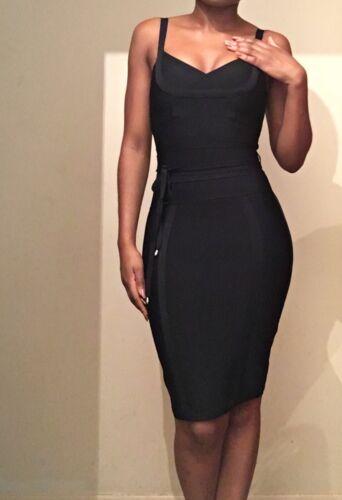 Bodycon Runway Black Tie 12 Waist Ukl Style Vestito Cb Bandage Boutique Celeb Taglia AcOwgqAC