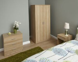 NEW-Contemporary-Oak-Finish-3-Piece-Bedroom-Set-Nightstand-Wardrobe-amp-Chest