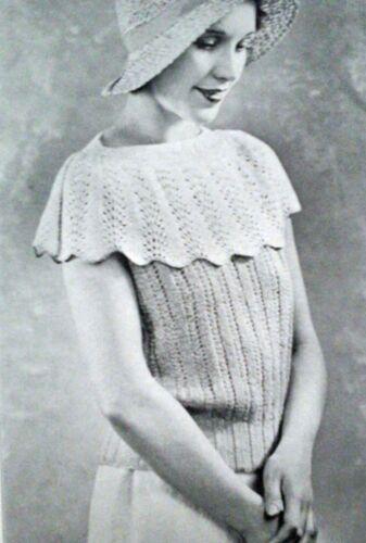 Knitting Patter 1930 S Femmes Pull Chemisier Dentelle Haut Haussement Capelet 34-36 935