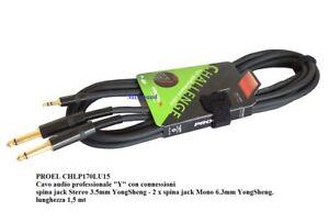 PROEL CHLP170LU15 CAVO AUX AUDIO JACK 3,5  Y PER PC COMPUTER cavetto MIXER 1,5m