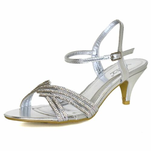 Ladies Low Mid Heel Diamante Shoes Ankle Strap Wedding Party Peep Toe Sandals