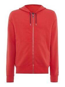 Mens-Red-Perfect-Fit-Hooded-Zip-Through-Sweatshirt-Medium-G6