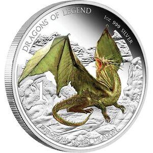 2013 $1 Dragons of Legend European Green Dragon 1oz Silver Proof Coin Perth Mint
