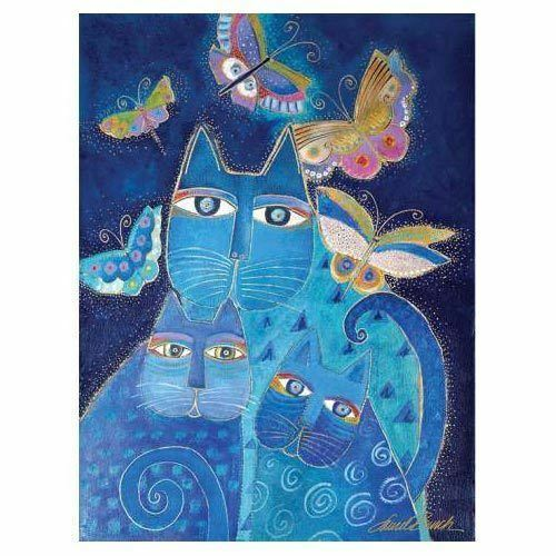 Laurel Burch Canvas Indigo Cat 12x16 *RARE* Wall Art
