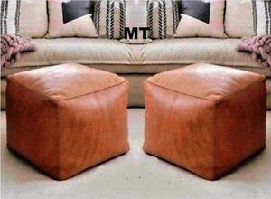 zwei-Leder-Sitzkissen-moroccan-orientalische-Pouf-Lederhocker-2-Hocker