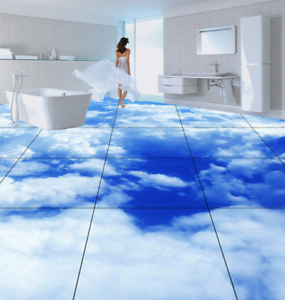 3D  Sky White Clouds 87 Floor WallPaper Murals Wall Print Decal AJ WALL CA Lemon