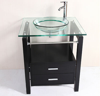 """28"""" Bathroom Tempered Clear Glass Vessel Sink & Vanity Cabinet w/ Faucet"""