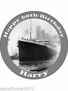 Image Is Loading Personalised Titanic Ship Edible Icing Birthday Cake Topper