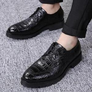 Fashion-Men-039-s-Cuban-Heel-Dress-formal-Pointed-toe-Oxfords-lace-up-Casual-shoes