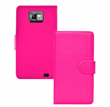 Pink WALLET Plain Leather phone case & card slots Samsung Galaxy S2 II GT-I9100
