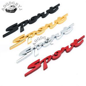 1 pair SPORT Emblem Trunk Fender Badge Sticker Car Metal 3D Logo Stickers