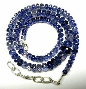 """Iolite Gemstone Roundel 5.5 to11.5MM Faceted Beads 20.5"""" NECKLACE 178 Ct S31"""