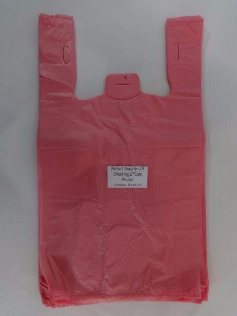 1/6 Pink Plastic T-Shirt Bags w/ Handles 11.5