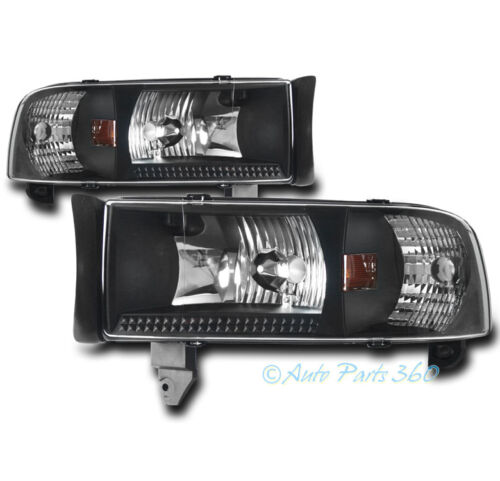 94-01 DODGE RAM 1500//94-02 2500//3500 CRYSTAL BLACK HEADLIGHT LAMP+CORNER SIGNAL