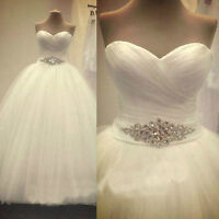 New A-Line ivory White Tulle Wedding Dress Bridal Gown size 6 8 10 12 14 16 18