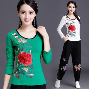 Womens-Long-Sleeve-Cotton-T-shirt-Embroidery-Tops-Blouse-Chinese-Folk-Breathable