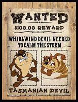 Tasmanian Devil Wanted Poster Fridge Magnet 3. 4 X 5. Taz.....free Shipping