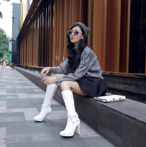 Womens Bow Mid Calf Boots Side Zip Plus Sz Pumps Stilettos High Heels Shoes T712