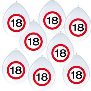 8 Luftballons Verkehrsschild Zahl 18 Geburtstag Party Deko