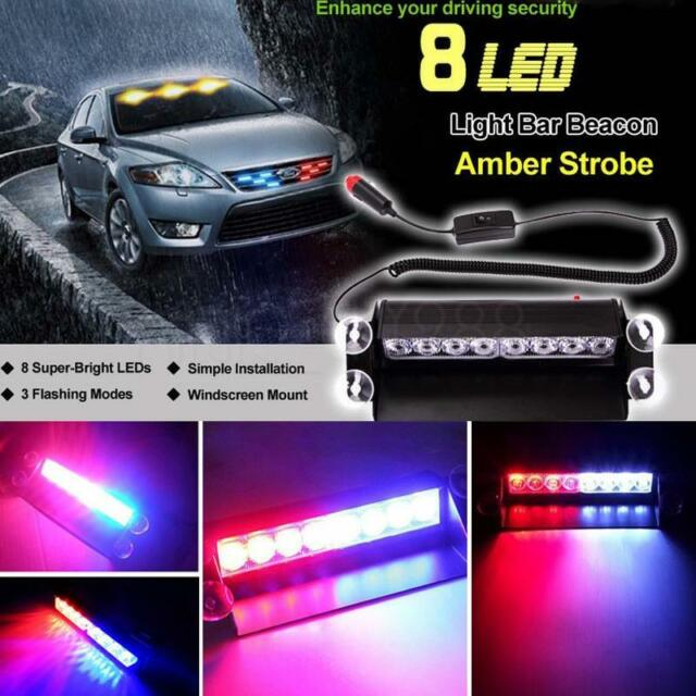 8 LED Red/Blue Car Police Strobe Flash Light Dash Emergency 3Flashing Light POP