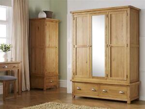 best website f5b0a 22ec5 Details about Birlea Woburn 3 Door 2 Drawer Solid Wardrobe Oak Wood  Traditional Design