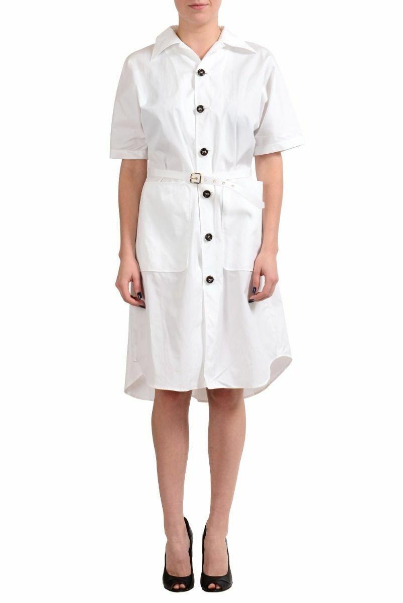 Dkvadrat2 vit kort Slieve Beled Woherrar Shirt Dress Sz M L XL