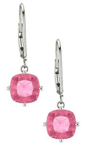 Sterling-Silver-2-20-tcw-6mm-Created-Pink-Sapphire-Cushion-Leverback-Earrings