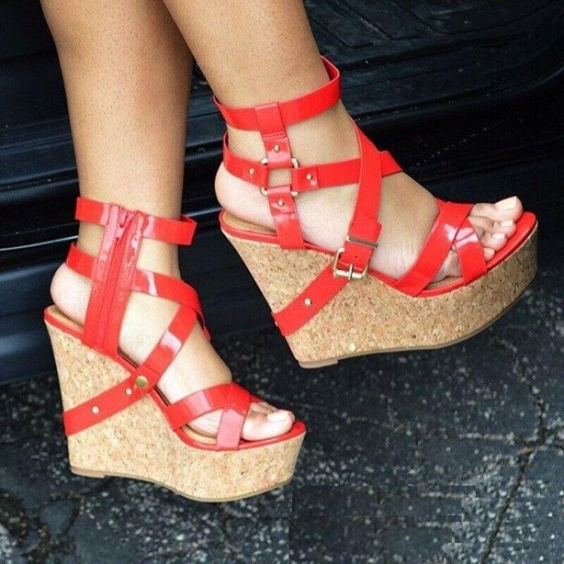 Nuevo Para mujeres Hebilla Con Tiras Gladiador Cuña Zapatos Sandalias Punta Abierta todas las tallas 4-12.5