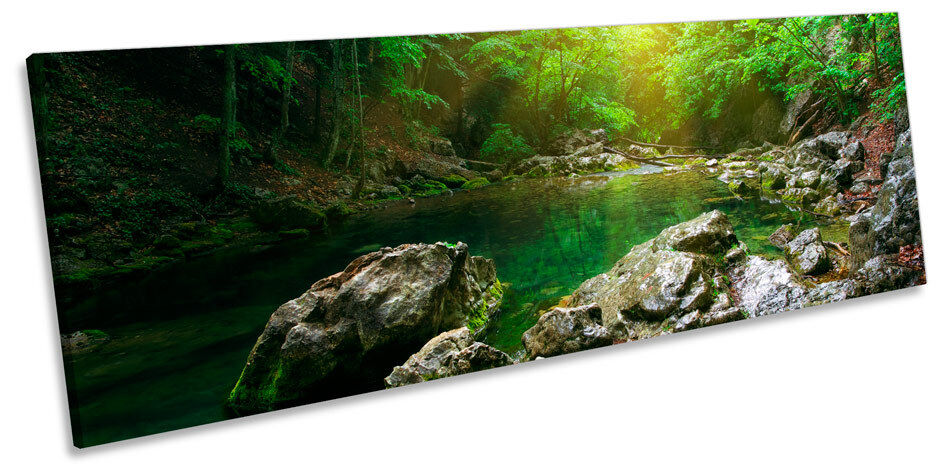 Mountain River Forest Landscape CANVAS Wand Kunst Panorama Framed Drucken