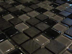 Glasmosaik Naturstein Glas Marmor Fliesen Schwarz Grau Bad Dusche