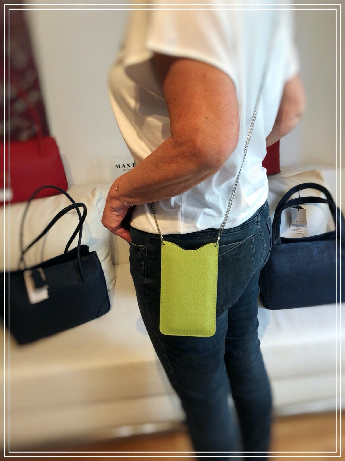 Leather Mobile Phone Bag Smartphone Case in Lime by Maxima from Milan in Italy