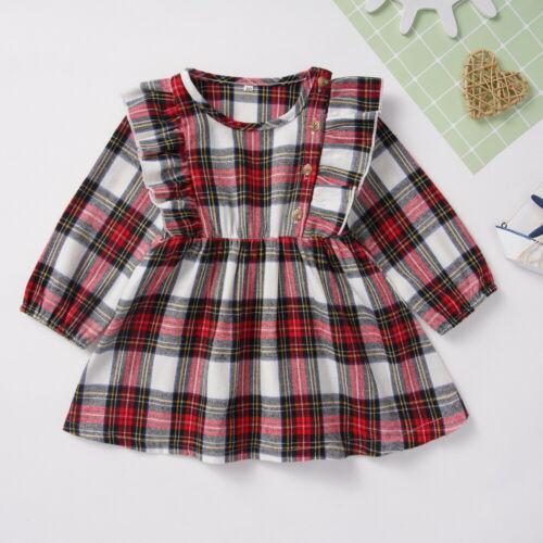 Xmas Toddler Kid Baby Girls Christmas Plaid Ruffled Tutu Dress Princess Clothes
