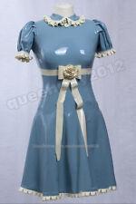 100% Latex Rubber Gummi 0.45mm Princess Dress Skirt Suit Catsuit Party Blue New
