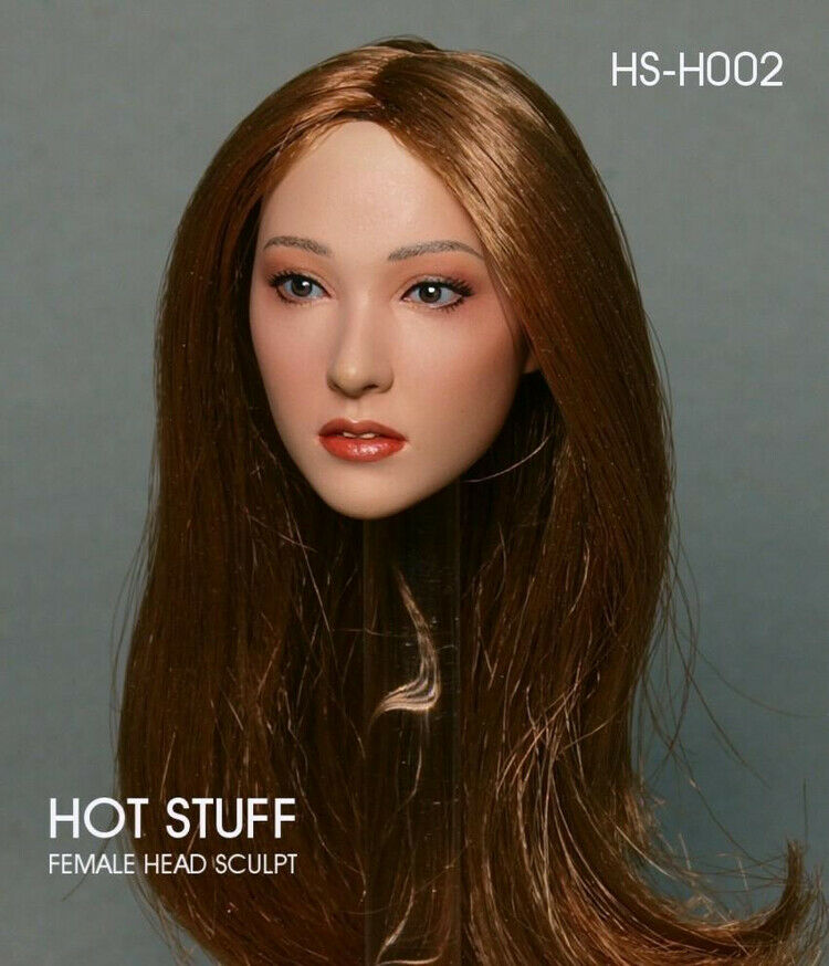 1 6 HOT STUFF HS-H002 Asian Beauty Beauty Beauty Brown Hair Female Head Carving Fit 12'' Body cd6d4f