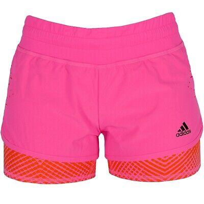 Adidas 2in1 Short Damen Laufhose Fitness Sport Hose Trainingshose kurz neon pink | eBay
