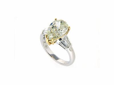 Echtschmuck 18 K 750 Weißgold Diamant 4,0 Karat Tropfen Diamant Zertifikat Neu