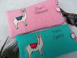 Handmade-Personalised-Glasses-Case-Wallet-Alpaca-Llama-Choice-Fabric-Aqua-Pink