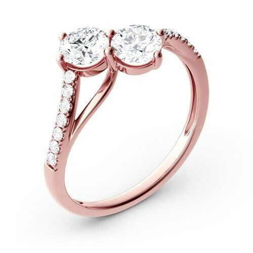 14K pink gold 1.04 Ct Round Cut Solitaire Diamond Engagement Ring Size 7 DVVS1