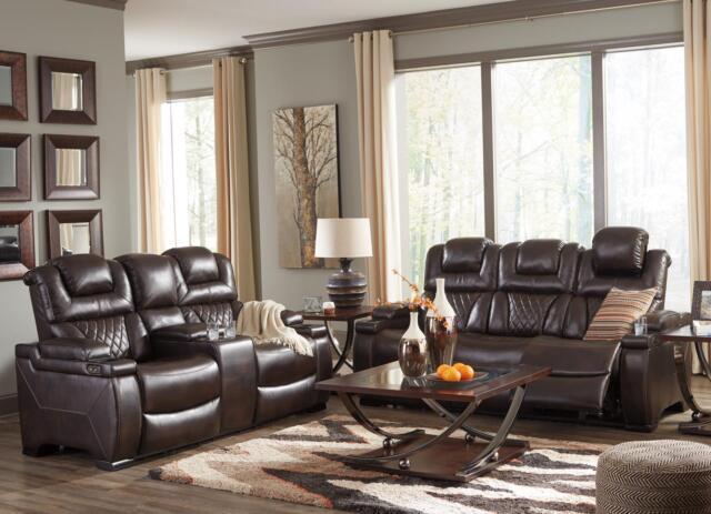 Cool Ashley Warnerton 75407 Power Reclining Sofa Set 2Pcs In Chocolate Contemporary Short Links Chair Design For Home Short Linksinfo