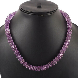 10mm-Natural-Amethyst-Melon-Carved-Beads-Necklace-925-Silver-Clasp