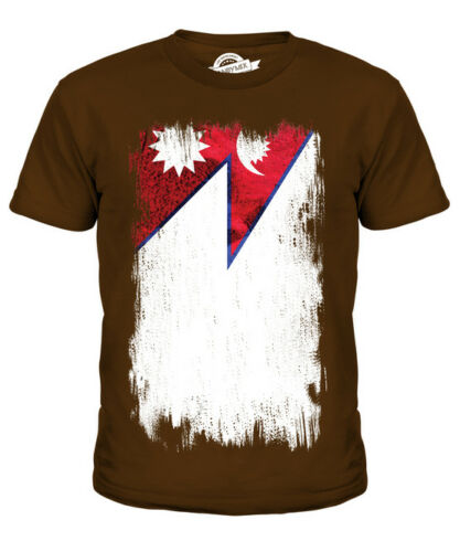 NEPAL GRUNGE FLAG KIDS T-SHIRT TEE TOP NEP?LA NEPALI NEPALESE SHIRT FOOTBALL