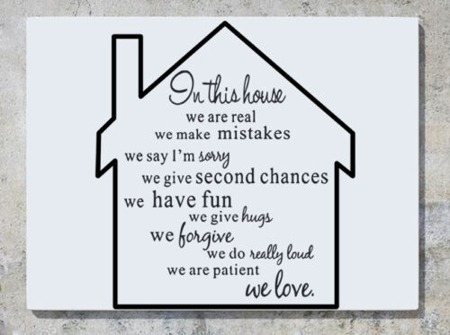 In This House We Are Real Have Fun Give Hugs Love Wall Decal Art Sticker Picture