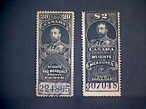 Canada 1930s King George V Revenue Stamps.
