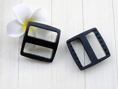 10pcs 1''Plastic Tri-Glide Adjust Slider Tri-ring Buckles Backpack Strap Webbing