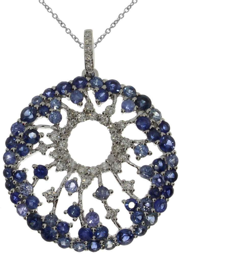 14K White gold Starburst Round Sapphire Pendant (Chain NOT included)