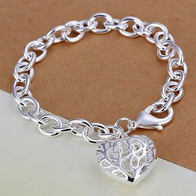 Women Silver Jewelry 925 Sterling Silver bangle bracelet Fit Xmas gift Charming
