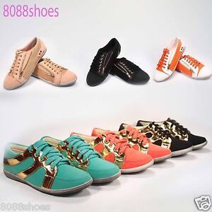 Women-039-s-Fashion-Cute-Comfort-Flat-Heel-Lace-Up-Sneaker-Shoes-All-Size-6-10-New