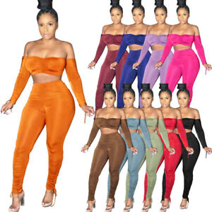 Women's Long Sleeve Crop Top Solid Color Drawstring Draped Bodycon Outfits 2pcs