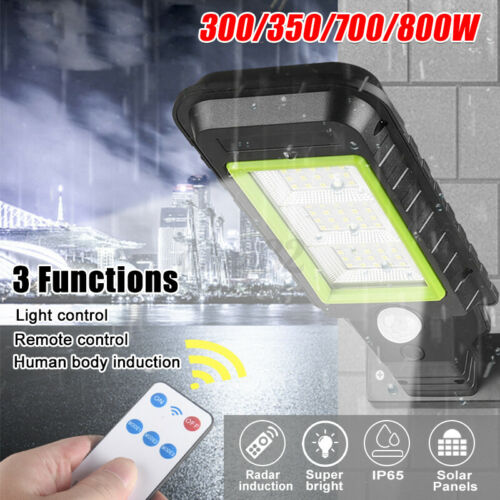 Remote 300W-800W LED COB Solar Panel Street Light PIR Motion Sensor Wall Lamps