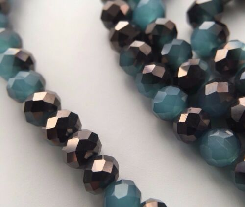 100 Stück Jade//Metall Facettierte Glasperlen 6mm Kügelchen Stein|DIY Schmuck